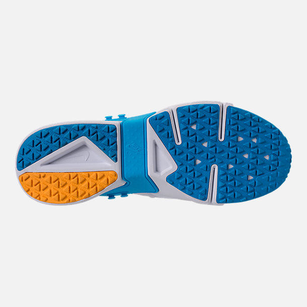 Bottom view of Men's Nike Air Huarache Run Drift Casual Shoes in White/Equator Blue/University Gold
