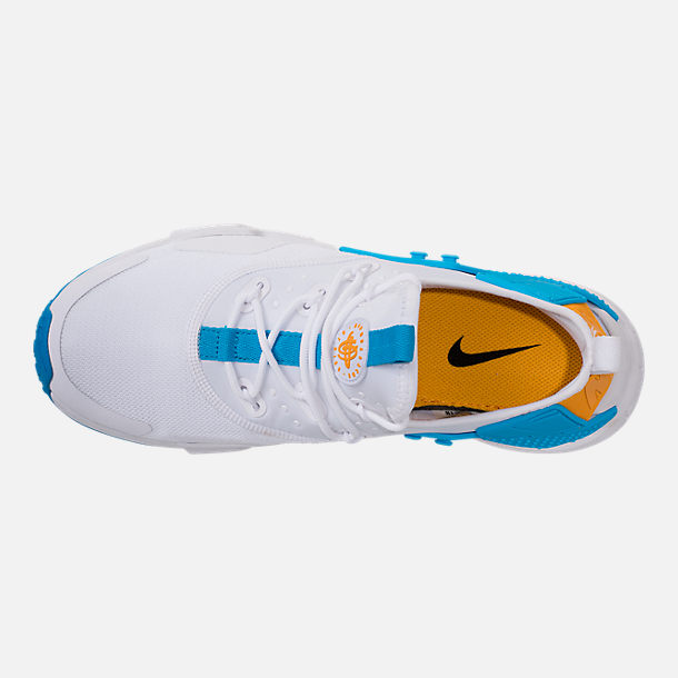 Top view of Men's Nike Air Huarache Run Drift Casual Shoes in White/Equator Blue/University Gold