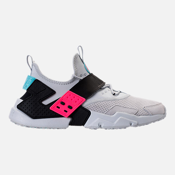 Right view of Men's Nike Air Huarache Drift Premium Casual Shoes in Pure Platinum/Black/Racer Pink