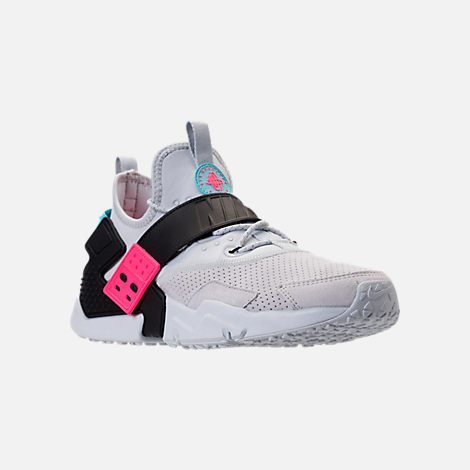 Three Quarter view of Men's Nike Air Huarache Drift Premium Casual Shoes in Pure Platinum/Black/Racer Pink