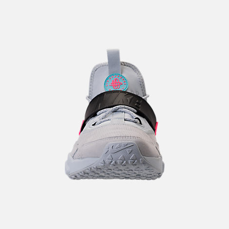 Front view of Men's Nike Air Huarache Drift Premium Casual Shoes in Pure Platinum/Black/Racer Pink