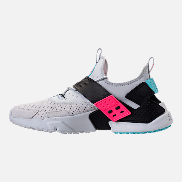 Left view of Men's Nike Air Huarache Drift Premium Casual Shoes in Pure Platinum/Black/Racer Pink