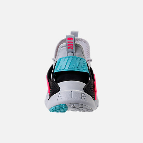 Back view of Men's Nike Air Huarache Drift Premium Casual Shoes in Pure Platinum/Black/Racer Pink