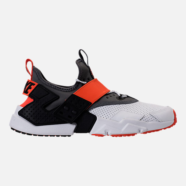 Right view of Men's Nike Air Huarache Drift Premium Casual Shoes in White/Dark Grey/Rush Orange