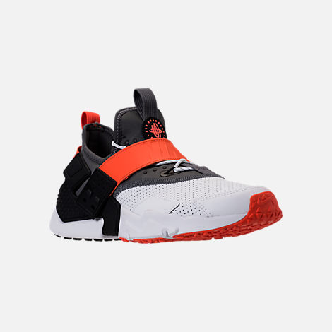 Three Quarter view of Men's Nike Air Huarache Drift Premium Casual Shoes in White/Dark Grey/Rush Orange