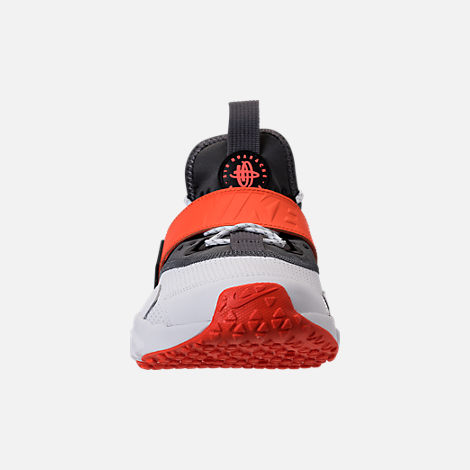 Front view of Men's Nike Air Huarache Drift Premium Casual Shoes in White/Dark Grey/Rush Orange
