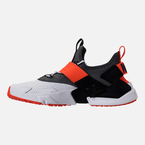 Left view of Men's Nike Air Huarache Drift Premium Casual Shoes in White/Dark Grey/Rush Orange