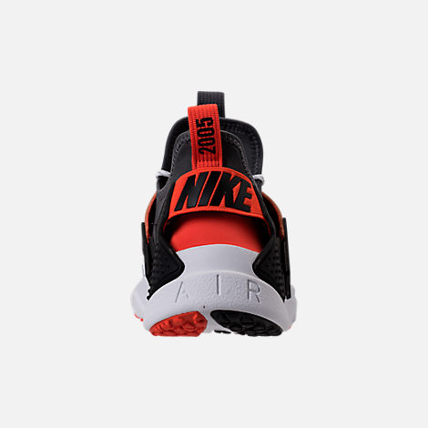Back view of Men's Nike Air Huarache Drift Premium Casual Shoes in White/Dark Grey/Rush Orange