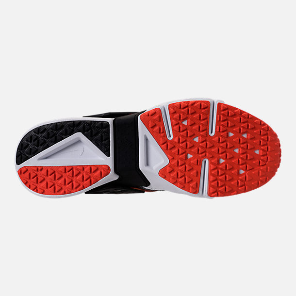 Bottom view of Men's Nike Air Huarache Drift Premium Casual Shoes in White/Dark Grey/Rush Orange