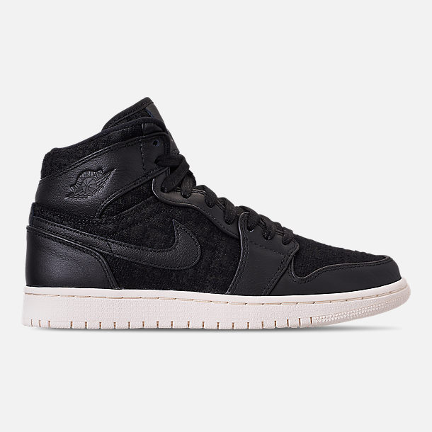 Right view of Women s Air Jordan 1 Retro High Premium Casual Shoes in  Black Black da4bec1317