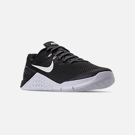 Three Quarter view of Men's Nike Metcon 4 Training Shoes in Black/White