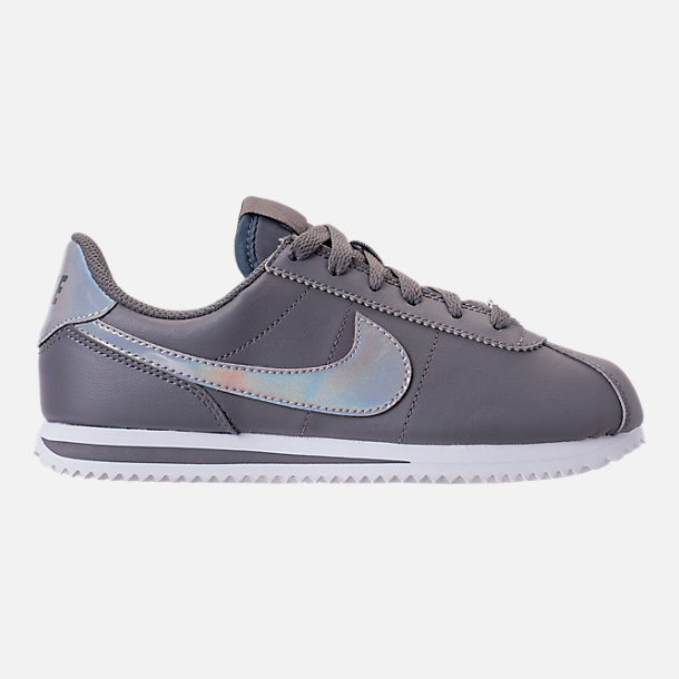 Right view of Girls' Big Kids' Nike Cortez Basic SL Casual Shoes in Gunsmoke/Gunsmoke/White