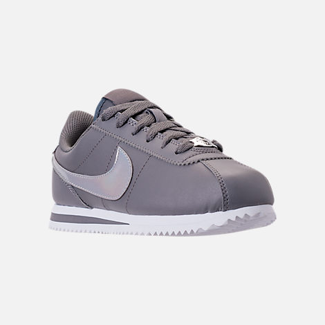 Three Quarter view of Girls' Big Kids' Nike Cortez Basic SL Casual Shoes in Gunsmoke/Gunsmoke/White