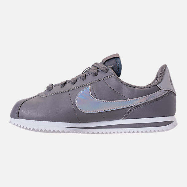 Left view of Girls' Big Kids' Nike Cortez Basic SL Casual Shoes in Gunsmoke/Gunsmoke/White
