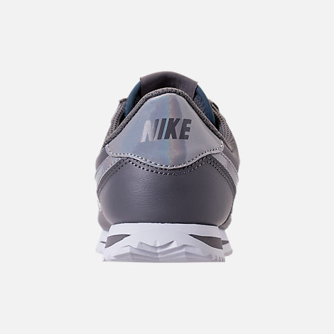 Back view of Girls' Big Kids' Nike Cortez Basic SL Casual Shoes in Gunsmoke/Gunsmoke/White