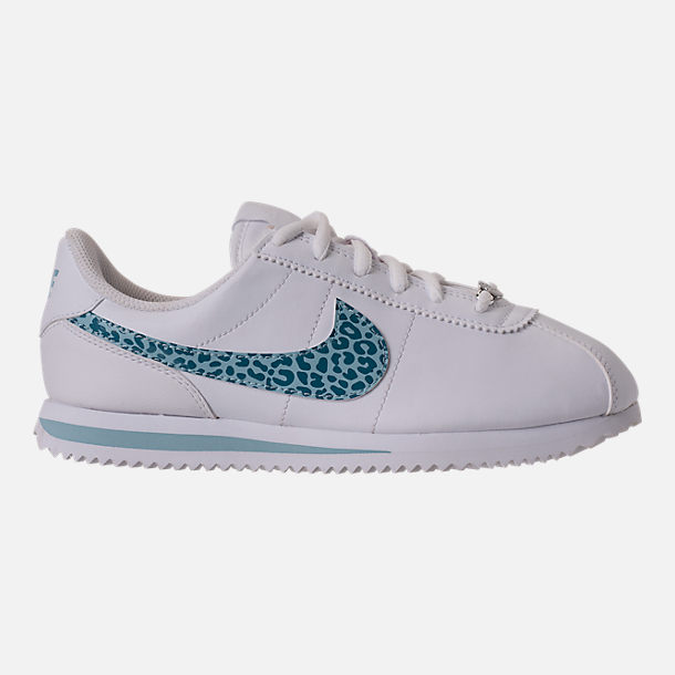 Right view of Girls' Grade School Nike Cortez Basic SL Casual Shoes in White/Ocean Bliss/Noise/Aqua
