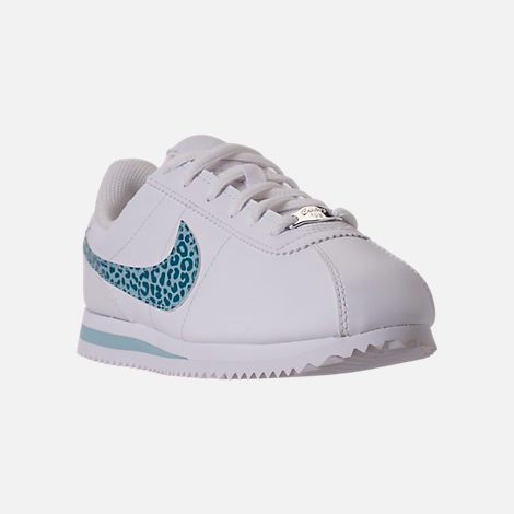 Three Quarter view of Girls' Grade School Nike Cortez Basic SL Casual Shoes in White/Ocean Bliss/Noise/Aqua