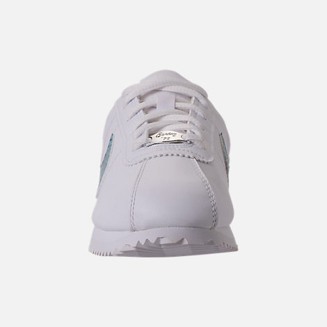 Front view of Girls' Grade School Nike Cortez Basic SL Casual Shoes in White/Ocean Bliss/Noise/Aqua