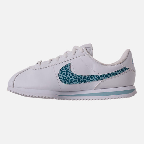 Left view of Girls' Grade School Nike Cortez Basic SL Casual Shoes in White/Ocean Bliss/Noise/Aqua