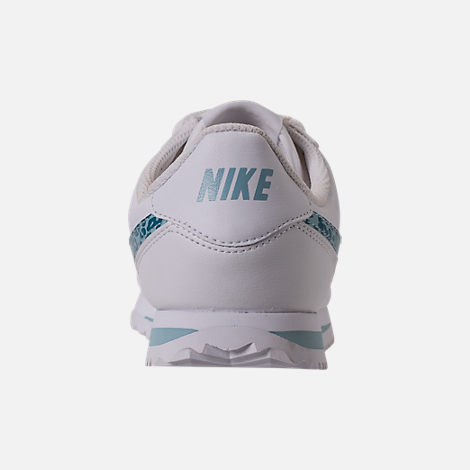 Back view of Girls' Grade School Nike Cortez Basic SL Casual Shoes in White/Ocean Bliss/Noise/Aqua