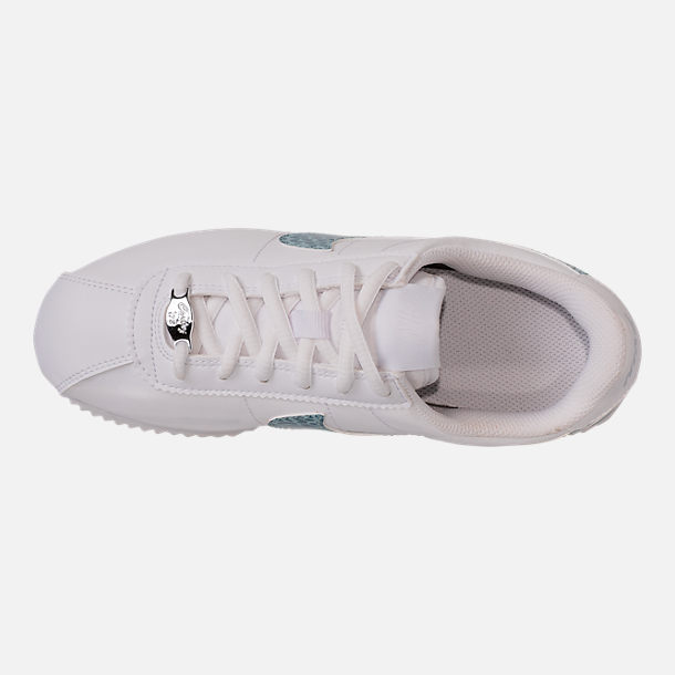 Top view of Girls' Grade School Nike Cortez Basic SL Casual Shoes in White/Ocean Bliss/Noise/Aqua
