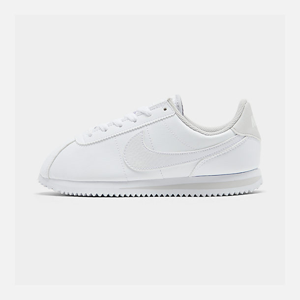 Right view of Girls' Big Kids' Nike Cortez Basic SL Casual Shoes in White/Vast Grey