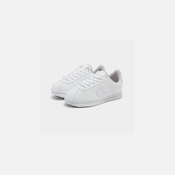 Three Quarter view of Girls' Big Kids' Nike Cortez Basic SL Casual Shoes in White/Vast Grey