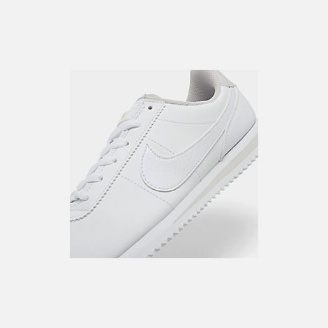 Front view of Girls' Big Kids' Nike Cortez Basic SL Casual Shoes in White/Vast Grey