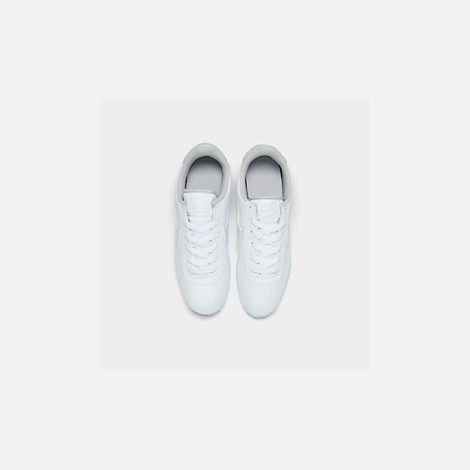 Back view of Girls' Big Kids' Nike Cortez Basic SL Casual Shoes in White/Vast Grey