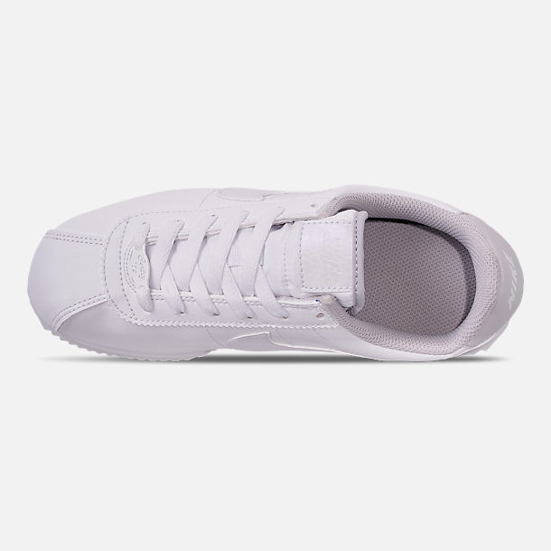 Top view of Girls' Big Kids' Nike Cortez Basic SL Casual Shoes in White/Vast Grey