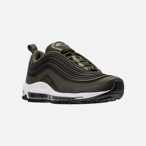 Three Quarter view of Men's Nike Air Max 97 Ultra 2017 Premium Casual Shoes in Cargo Kahki/Black/Summit White