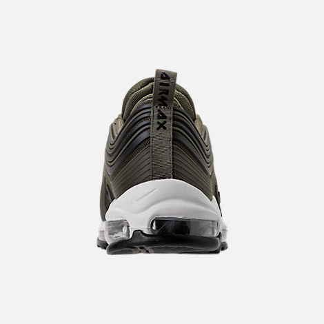 Back view of Men's Nike Air Max 97 Ultra 2017 Premium Casual Shoes in Cargo Kahki/Black/Summit White