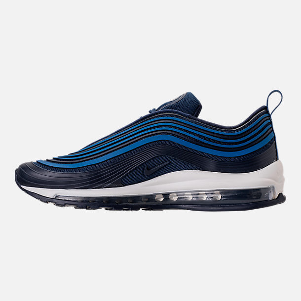 Left view of Men's Nike Air Max 97 Ultra 2017 Premium Casual Shoes in Navy/Obsidian/Sail