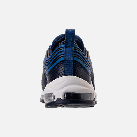 Back view of Men's Nike Air Max 97 Ultra 2017 Premium Casual Shoes in Navy/Obsidian/Sail
