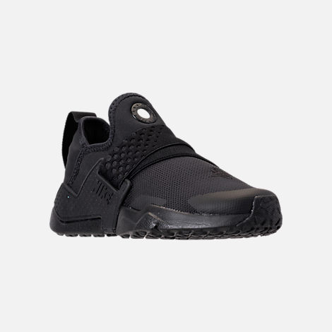 Three Quarter view of Boys' Little Kids' Nike Huarache Extreme Casual Shoes in Black/Black/Black