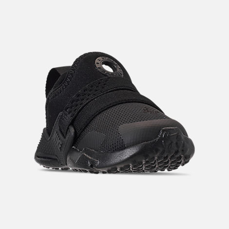 Three Quarter view of Kids' Toddler Nike Huarache Extreme Running Shoes in Black/Black/Black