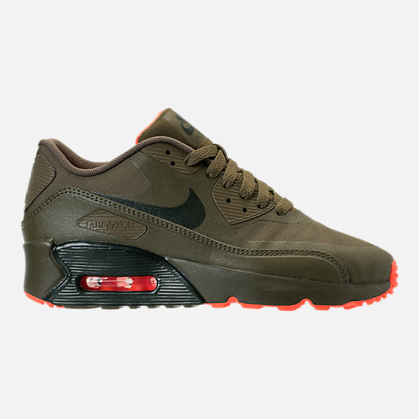 Right view of Boys' Grade School Nike Air Max 90 Ultra 2.0 LE Casual Shoes in LWP Med Olive/Sequoia/Total Crimson