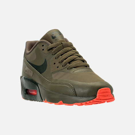 Three Quarter view of Boys' Grade School Nike Air Max 90 Ultra 2.0 LE Casual Shoes in LWP Med Olive/Sequoia/Total Crimson