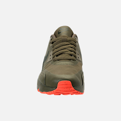 Front view of Boys' Grade School Nike Air Max 90 Ultra 2.0 LE Casual Shoes in LWP Med Olive/Sequoia/Total Crimson