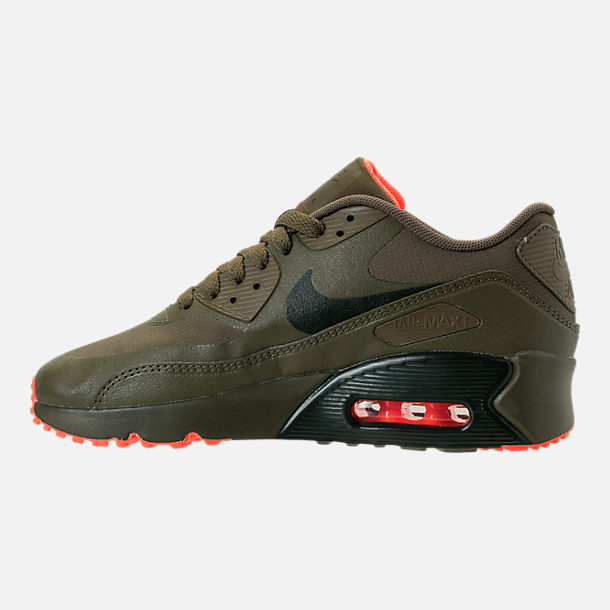 Left view of Boys' Grade School Nike Air Max 90 Ultra 2.0 LE Casual Shoes in LWP Med Olive/Sequoia/Total Crimson
