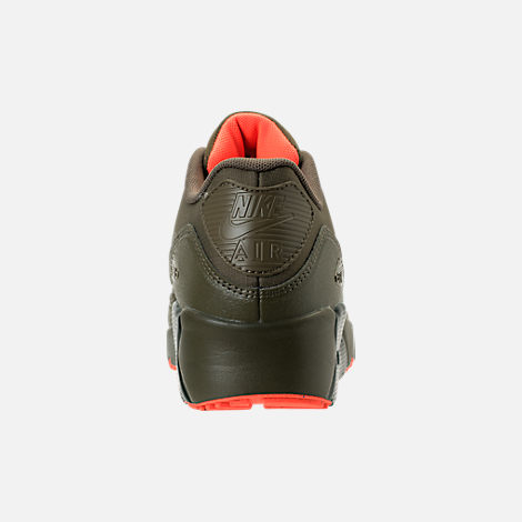 Back view of Boys' Grade School Nike Air Max 90 Ultra 2.0 LE Casual Shoes in LWP Med Olive/Sequoia/Total Crimson