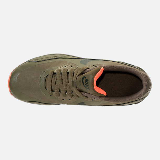 Top view of Boys' Grade School Nike Air Max 90 Ultra 2.0 LE Casual Shoes in LWP Med Olive/Sequoia/Total Crimson