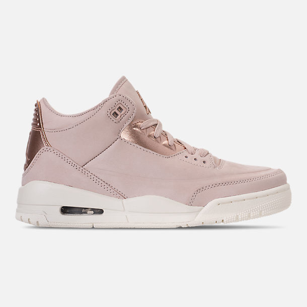 right view of womens air jordan retro 3 se casual shoes in particle beige metallic