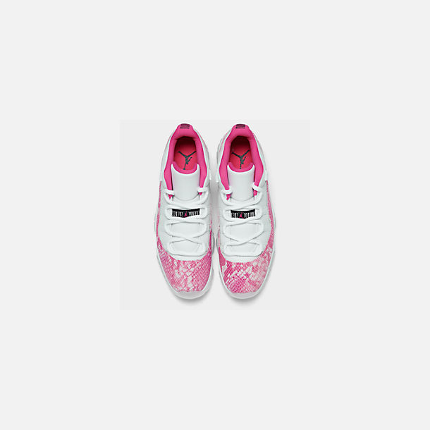 Back view of Women's Air Jordan Retro 11 Low Basketball Shoes in White/Black/Rust Pink