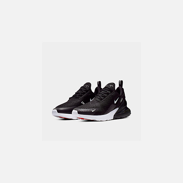 Three Quarter view of Men's Nike Air Max 270 Casual Shoes in Black/Anthracite/White/Solar Red