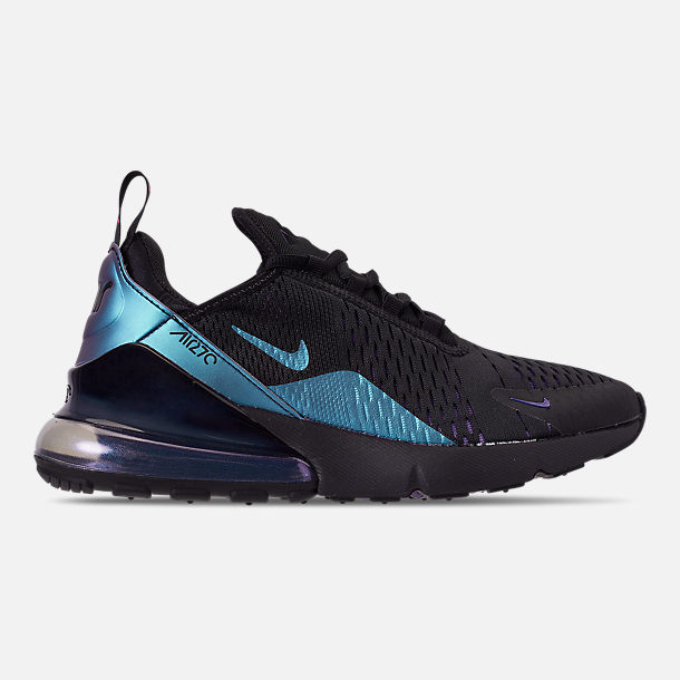 Right view of Men's Nike Air Max 270 Casual Shoes in Black/Laser Fuchsia/Regency Purple