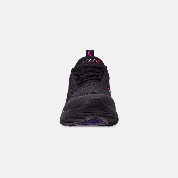Front view of Men's Nike Air Max 270 Casual Shoes in Black/Laser Fuchsia/Regency Purple