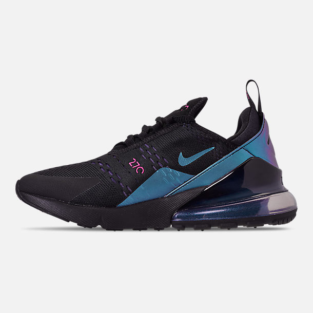 Left view of Men's Nike Air Max 270 Casual Shoes in Black/Laser Fuchsia/Regency Purple
