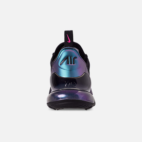 Back view of Men's Nike Air Max 270 Casual Shoes in Black/Laser Fuchsia/Regency Purple