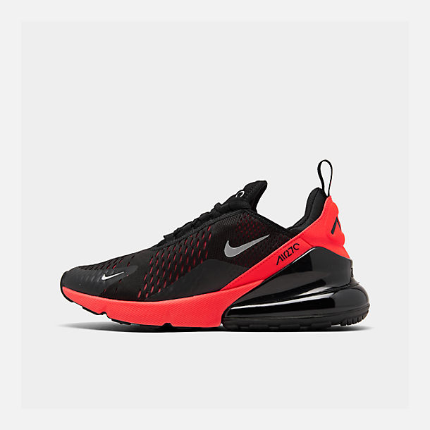 Right view of Men's Nike Air Max 270 Casual Shoes in Black/Metallic Silver/Bright Crimson